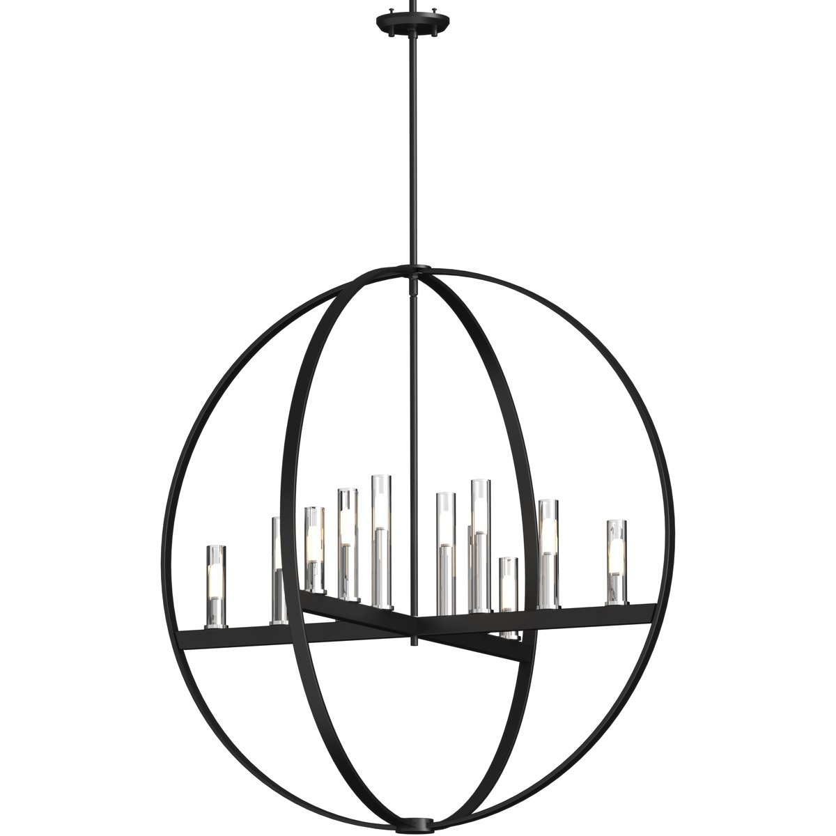 1200x1200 Pendants Light With Chrome And Graphite Finish Candelabra Bulbs