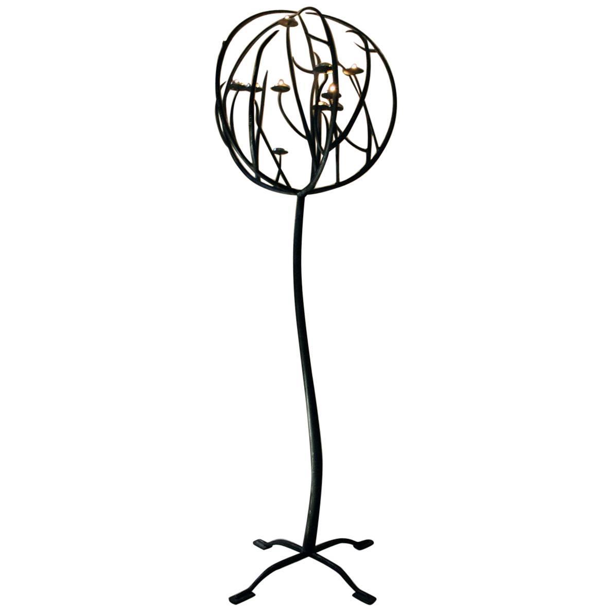 1189x1189 Century Black Wrought Iron Floor Standing Ten Sconce Sphere