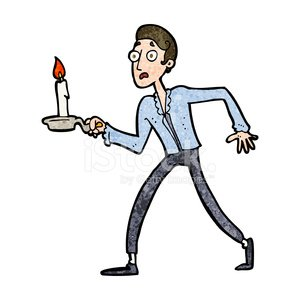 300x300 cartoon frightened man walking with candlestick stock vectors