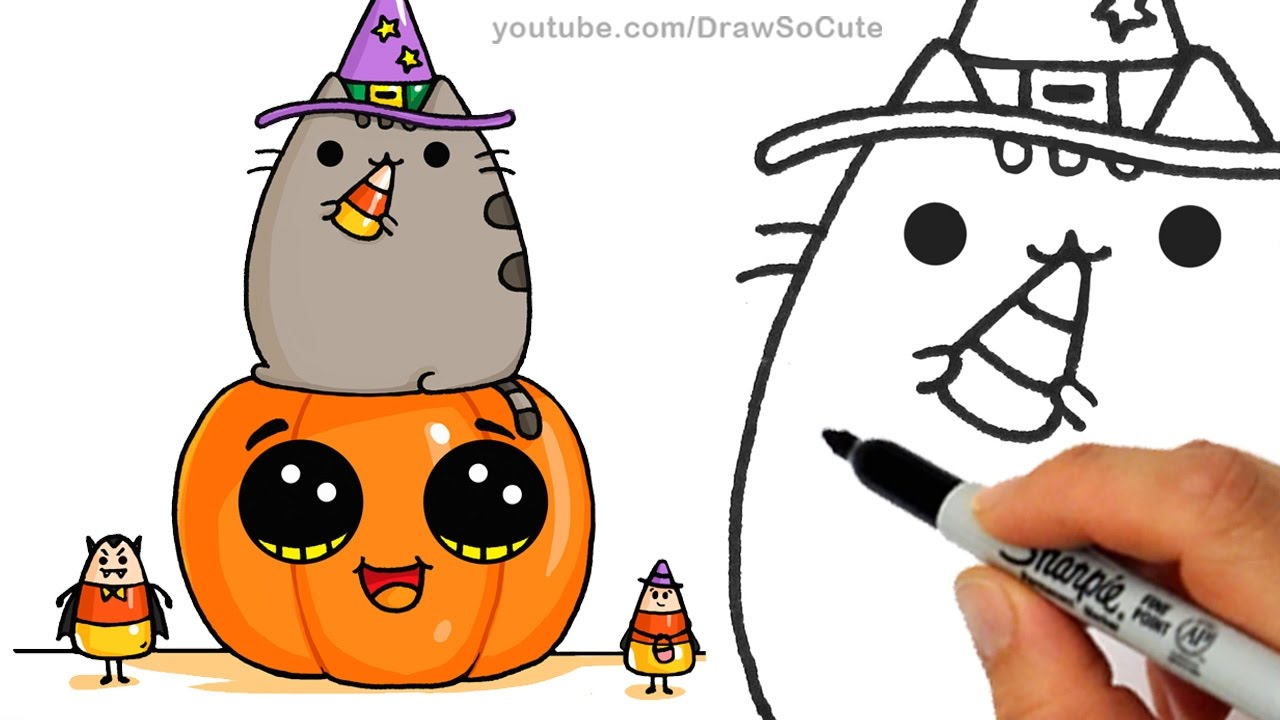 1280x720 How To Draw Pusheen Cat On Pumpkin With Candy Corn Step