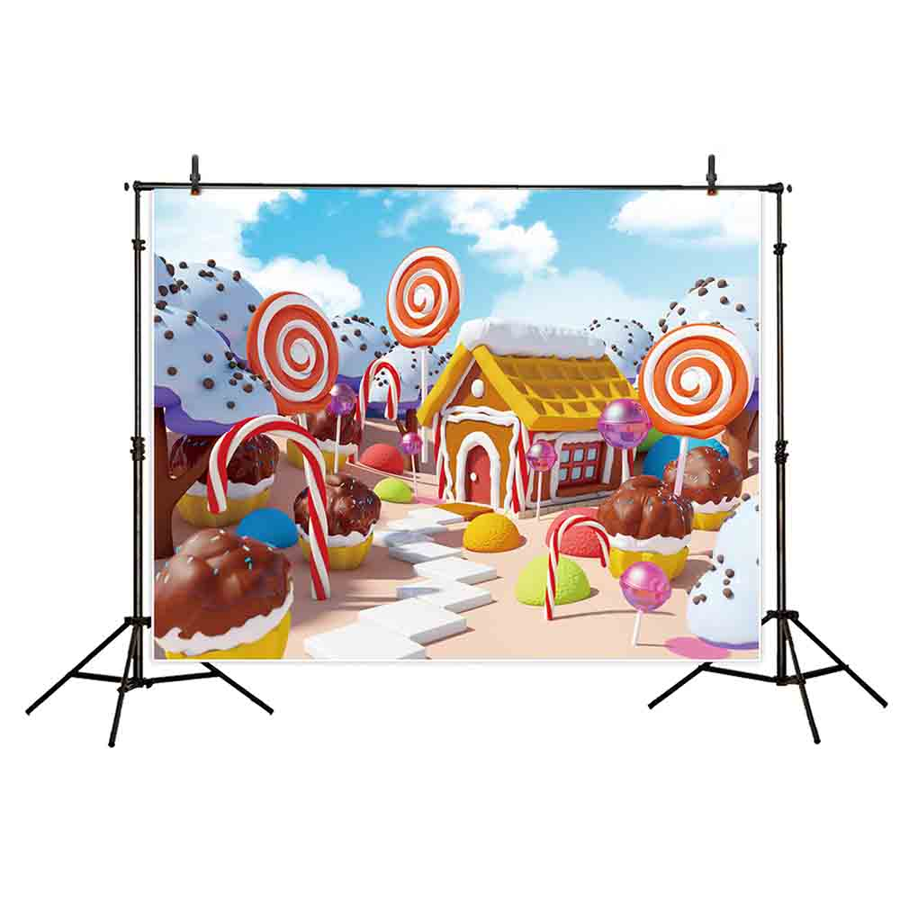 1000x1000 Funny Tree Photography Backdrops Candy Land Landscape Gingerbread