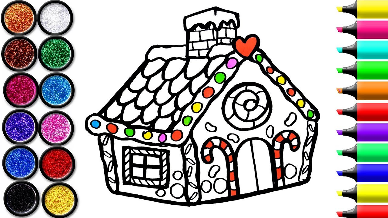 1280x720 Gingerbread House Coloring And Drawing For Kids, Toddlers Learn
