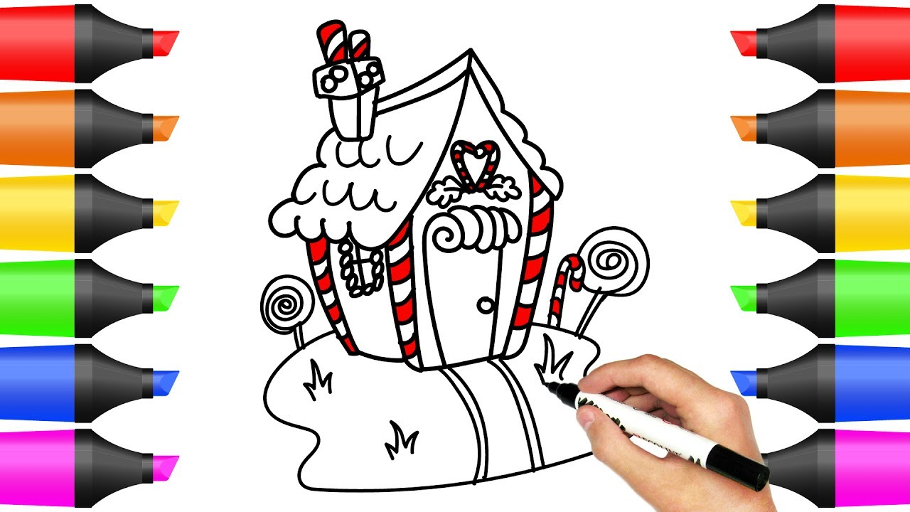 1280x720 How To Draw Colorful Doll Candy House Art Colours For Kids Kids