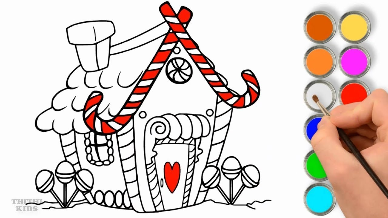 1280x720 How To Draw Candy House Coloring For Kids