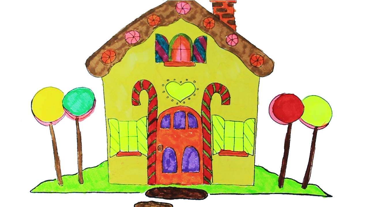 1280x720 Colouring A Beautiful Candy House Colouring Pages For Kids