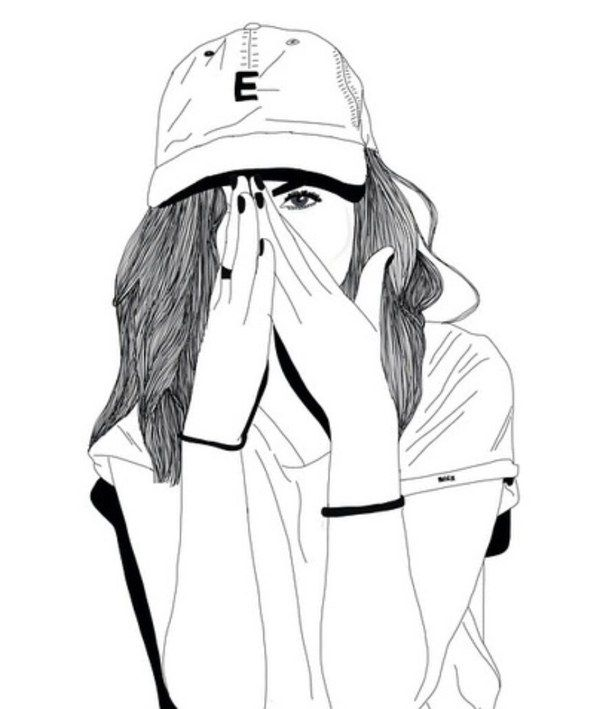 610x709 Black And White, Cap, Drawing, Follow, Girl, Outline, Outlines