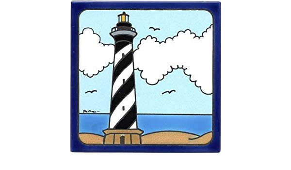 600x350 cape hatteras lighthouse tile, lighthouse wall plaque