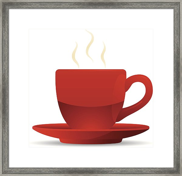 600x579 red coffee cup and saucer framed print