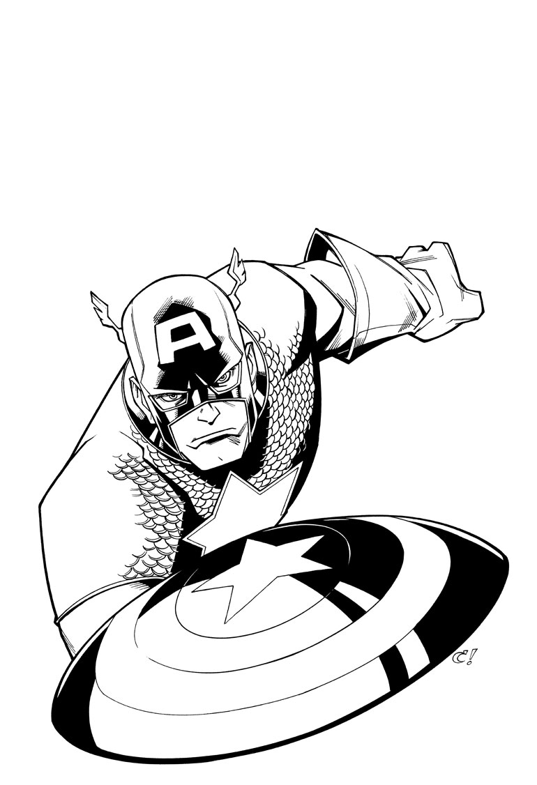 770x1126 Drawing Pens Captain America For Free Download