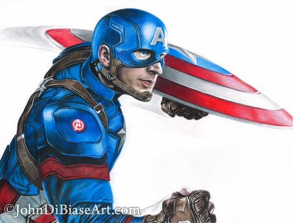 570x434 drawing of captain america chris evans from captain america etsy