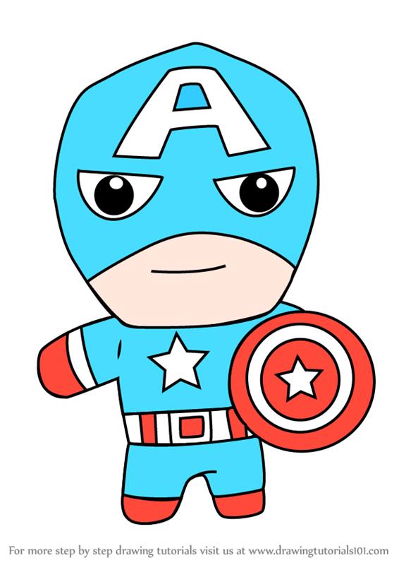 566x800 Learn How To Draw Kawaii Captain America