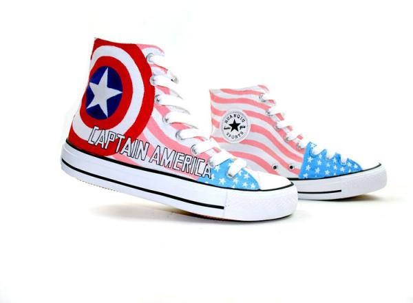 600x440 Captain America The First Avenger Themed Custom High Top Painte