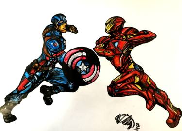 375x270 Captain America Vs Iron Man Drawing