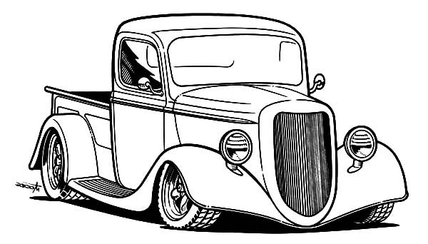 600x342 Pick Up Hot Rod Cars Coloring Pages Kids Play Color To Color