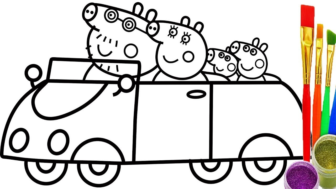 1280x720 Coloring Pages Peppa Pig Drawing How To Draw Family In Car Videos