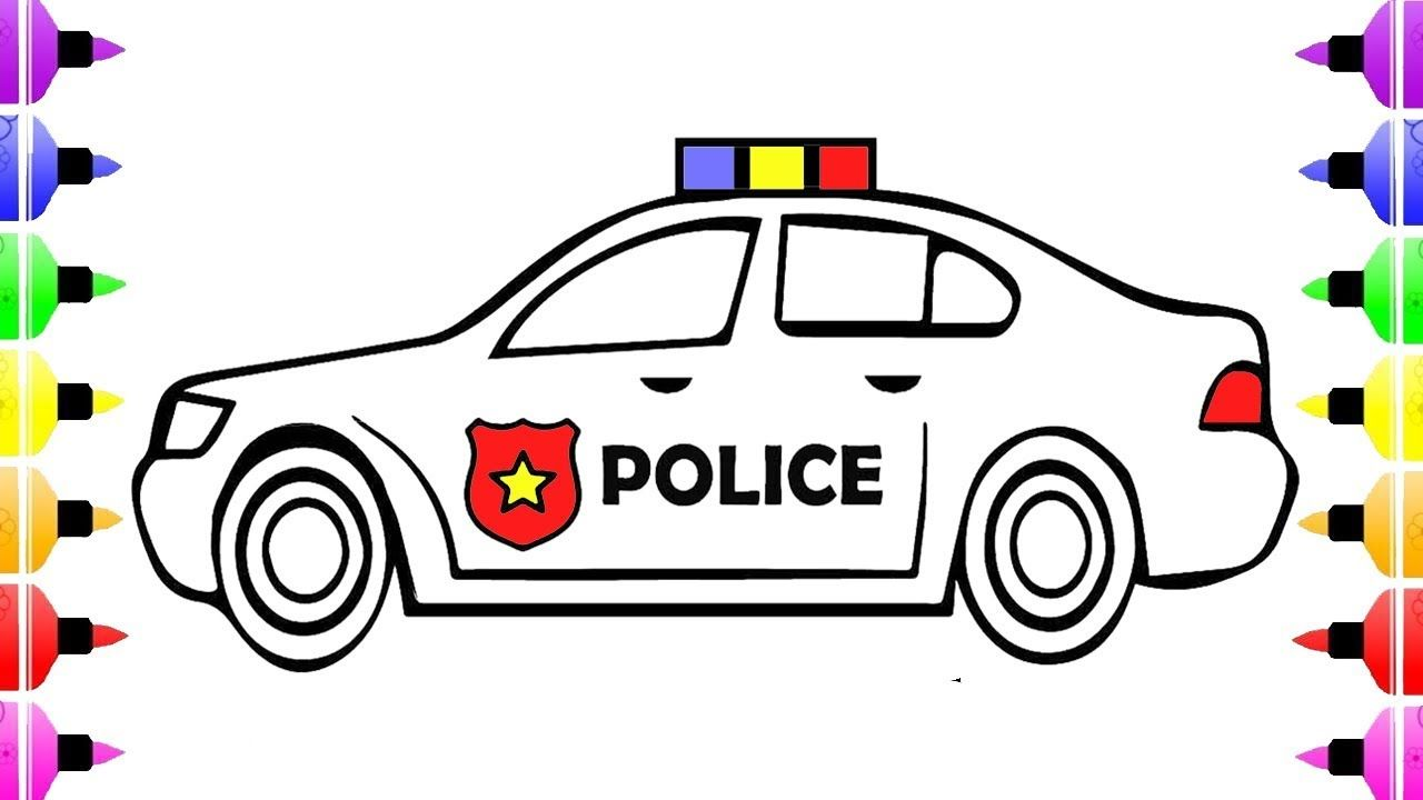 1280x720 How To Draw Police Car Coloring Pages For Kids And Drawing