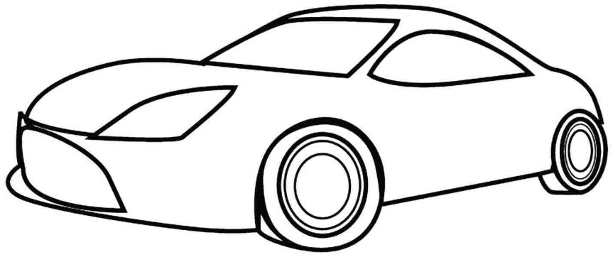 863x362 Simple Car Coloring Pages Example Drawing For Kids Learn Colors