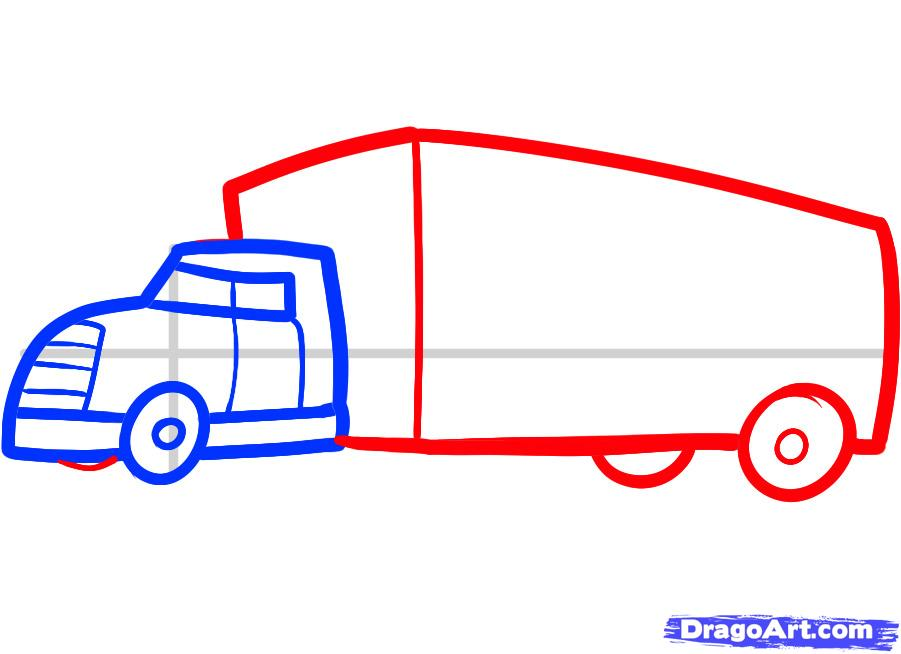 901x654 Step How To Draw A Truck For Kids
