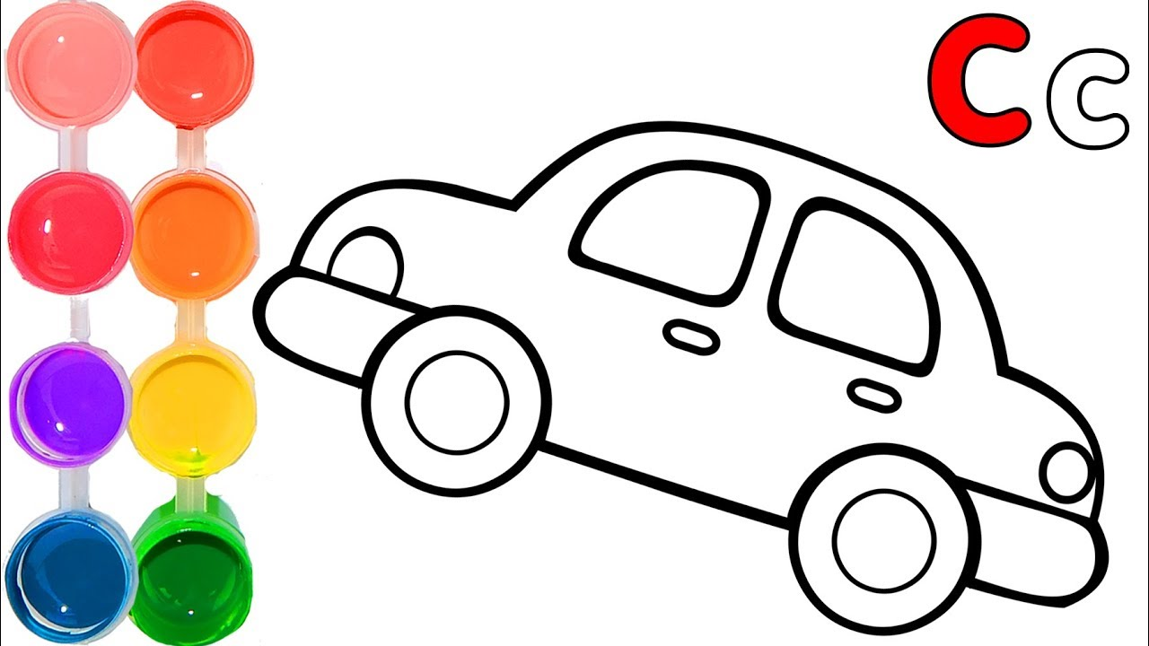 1280x720 How To Draw A Car Learn Easy Painting Letter C Abc Easy