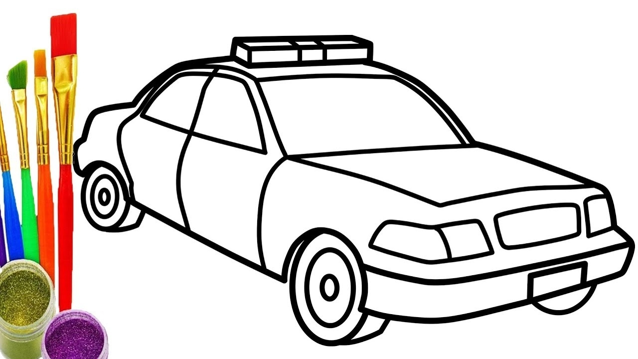 1280x720 Car Coloring How To Draw Police Car Coloring