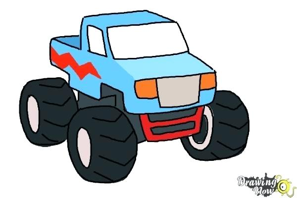 600x400 easy to draw monster truck how to draw a monster truck step