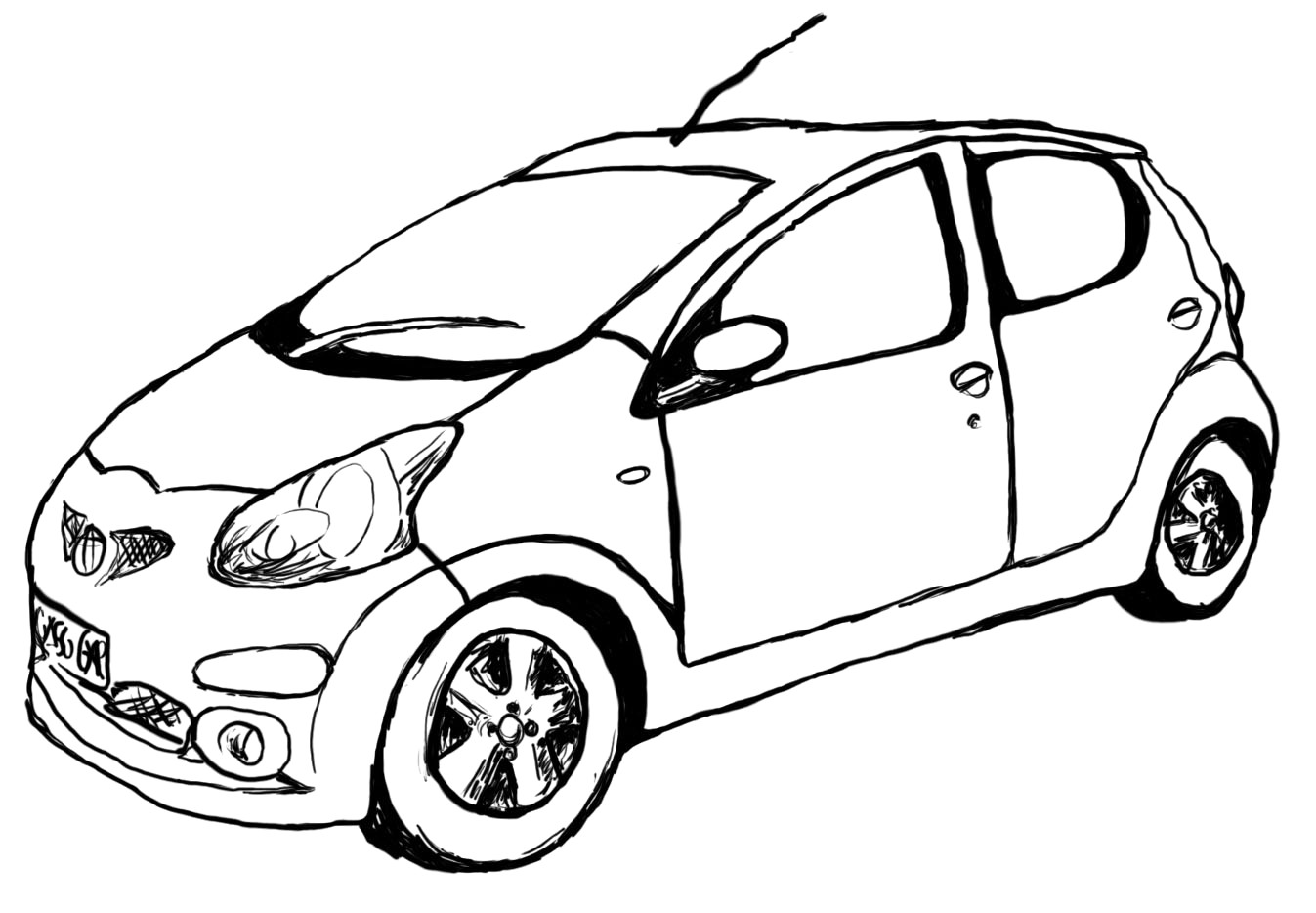 1347x934 Car Drawing Outline