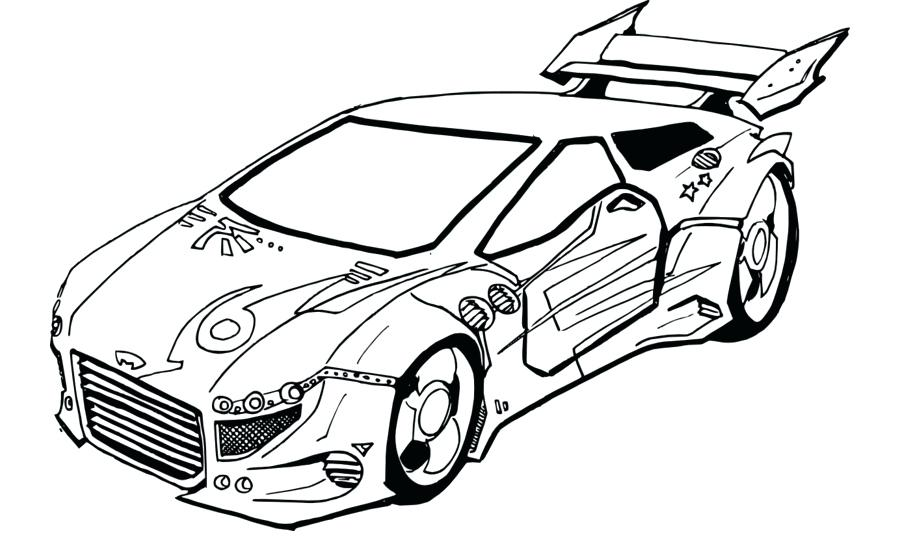 900x540 Car Drawing Template Cartoon Car Monochrome Contours On White