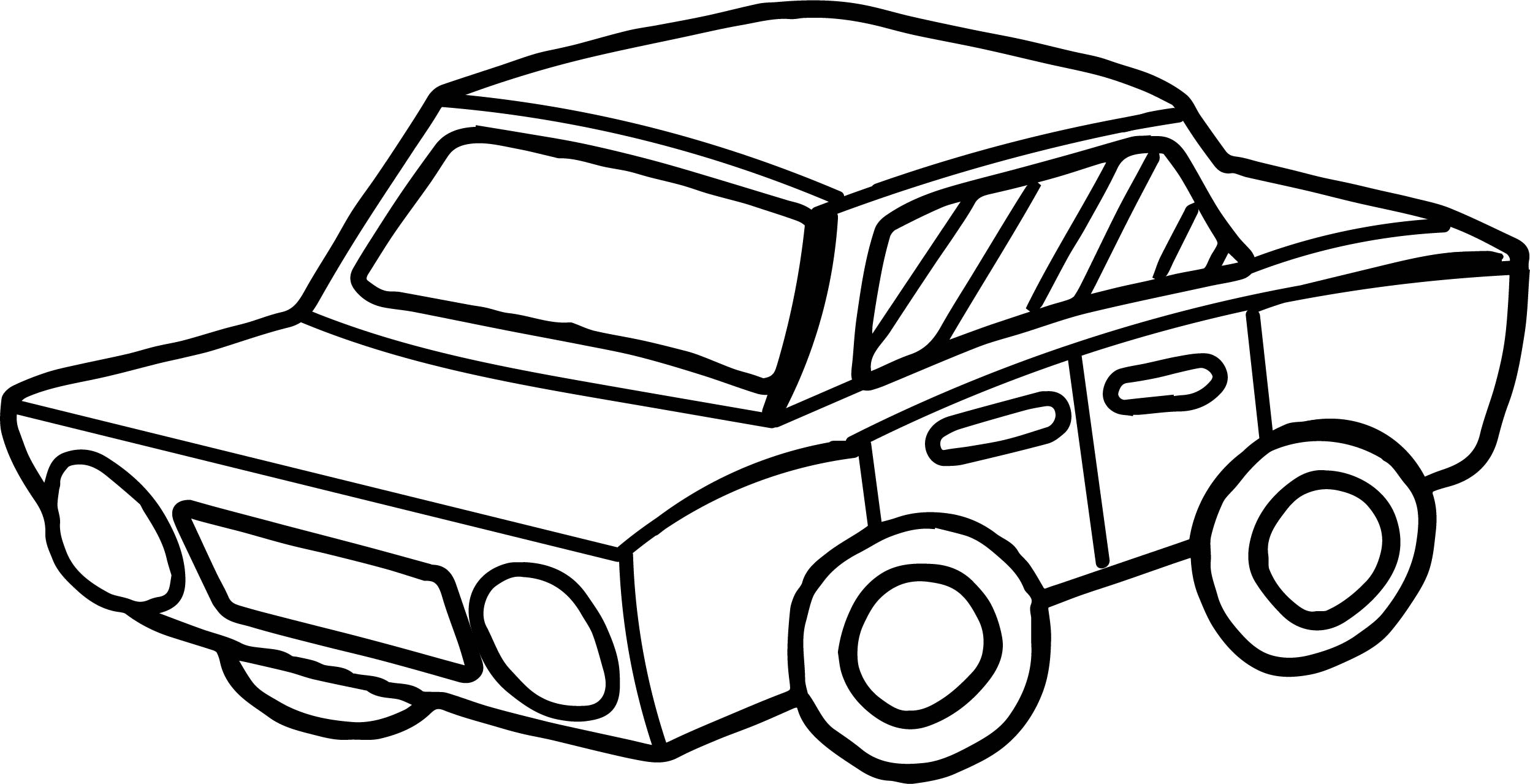 2496x1279 Line Drawing Car For Free Download