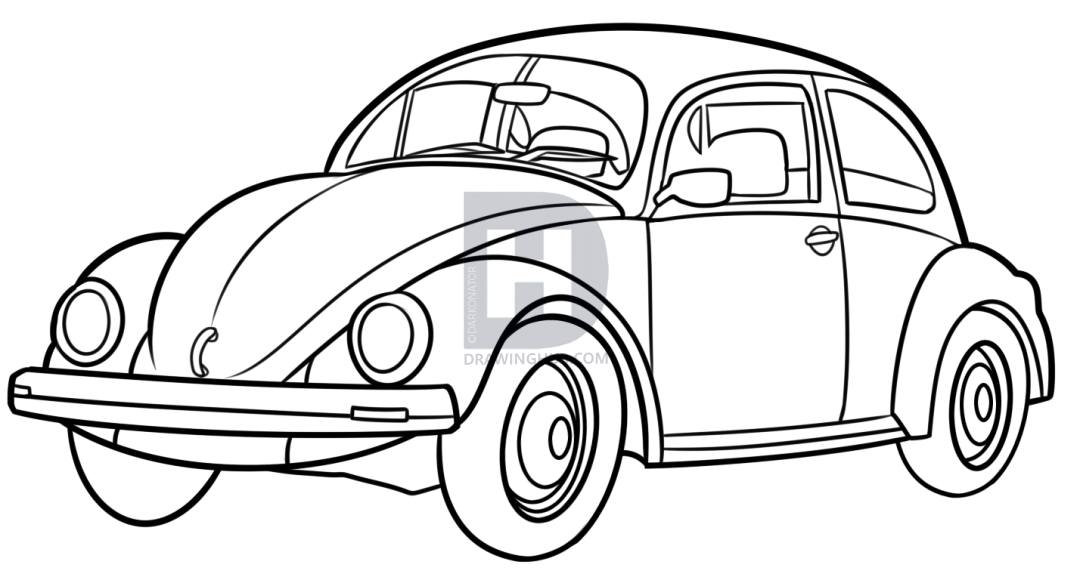 1080x577 How To Draw A Vw Beetle, Step