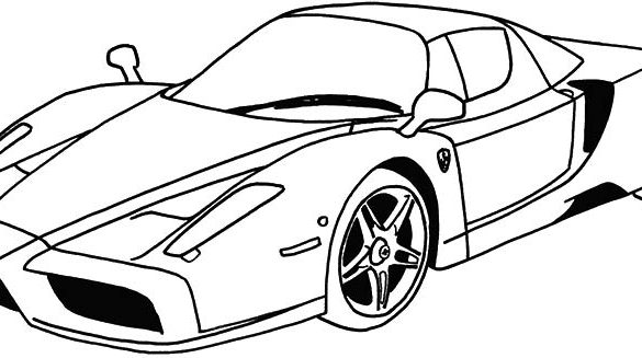 585x327 Cool And Opulent Pictures To Colour In Of Cars Car Drawing Top