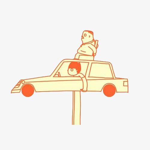 500x500 Creative Car Top Design, Car Clipart, Originality, Cartoon Style