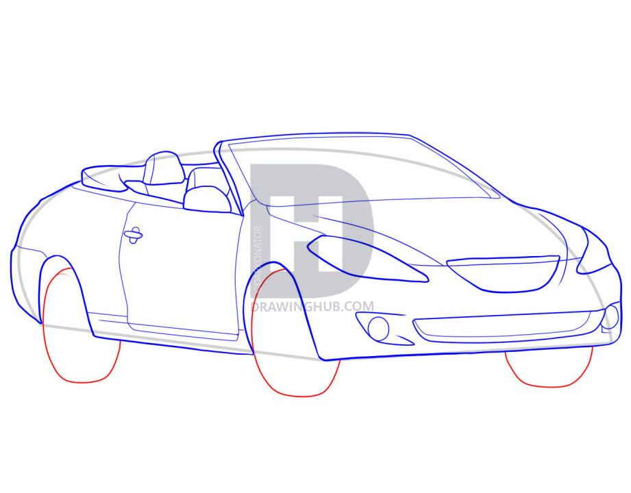 921x720 How To Draw A Convertible, Step
