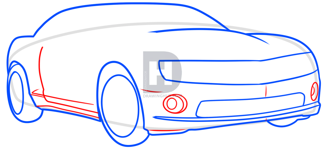 1080x510 How To Draw A Yellow Camaro, Step
