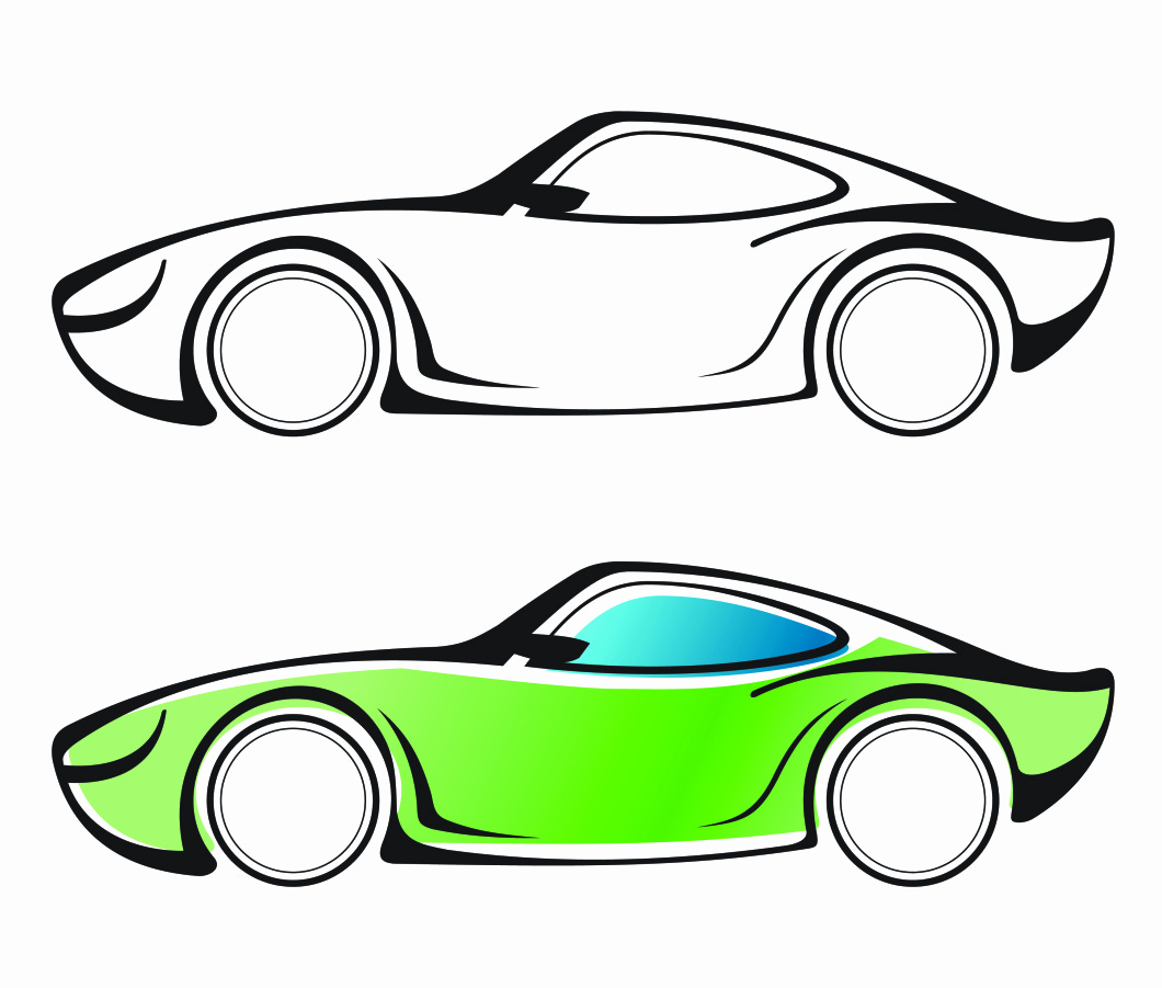 1060x901 Vehicle Vector Awesome Car Top View Drawing Vector