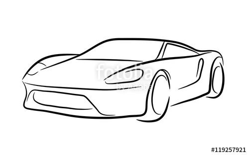 500x312 Exotic Car Outline A Hand Drawn Vector Contour Illustration