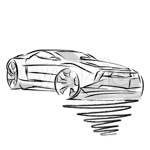 620x620 Modern Sports Car Drawing Study Vector Illustration