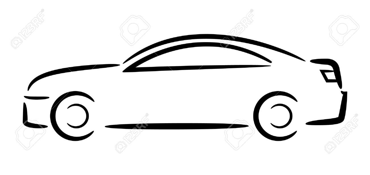 1300x615 Outline Sedan Car Drawing In Different Vector