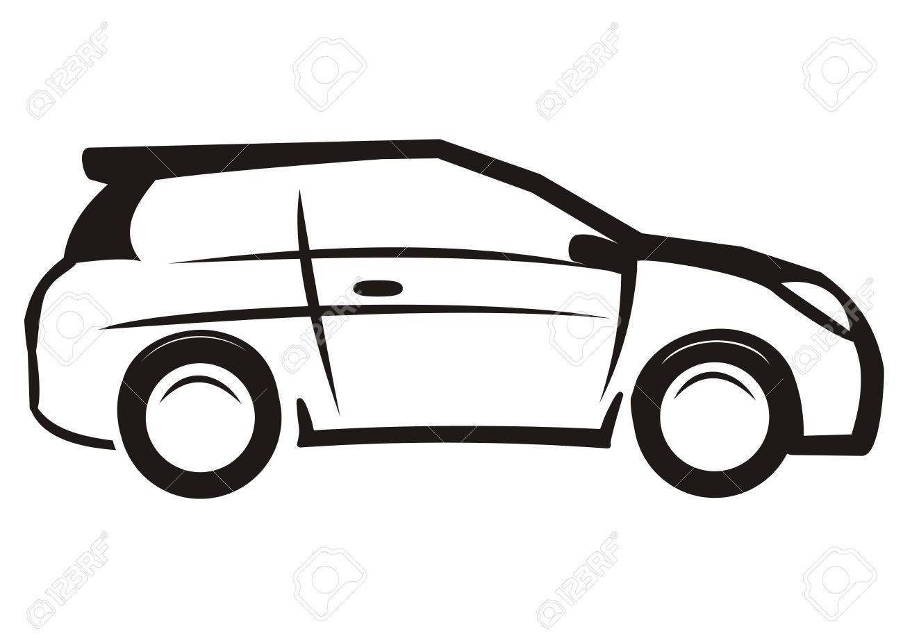 1300x919 Car Black And White Sketch Vector Icon Auto Clipart