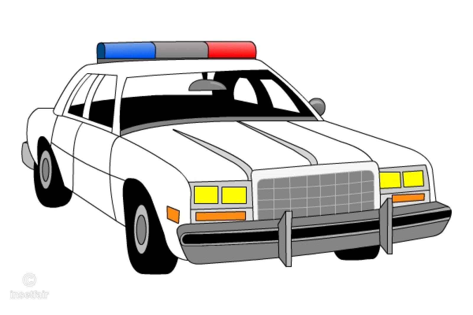 1600x1067 Police Car With Sirens Vector Clipart Drawing