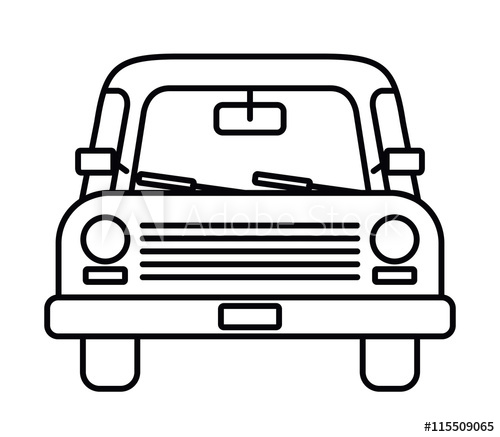 500x437 Car Drawing Front Isolated Icon Design