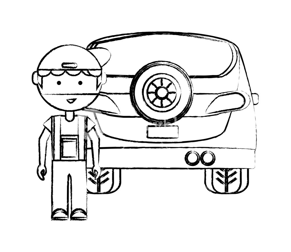 1000x867 Cartoon Mechanic And Car Over White Background, Vector