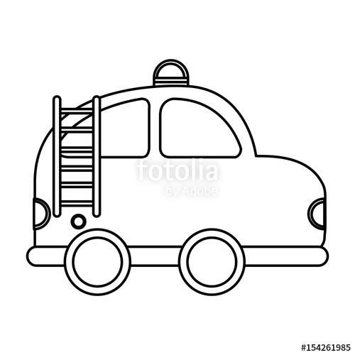 500x500 Firefighter Car Drawing Icon Vector Illustration Design Stock