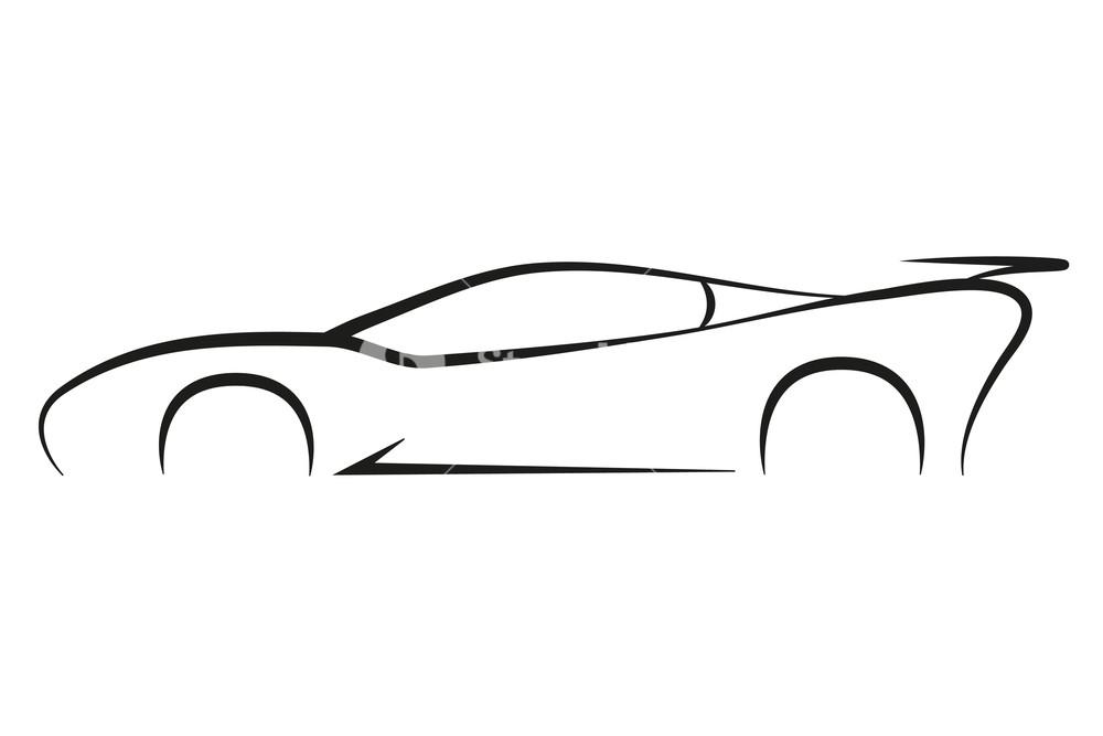 1000x667 Outline Sport Car Symbol Silhouette Business Company Vector Logo