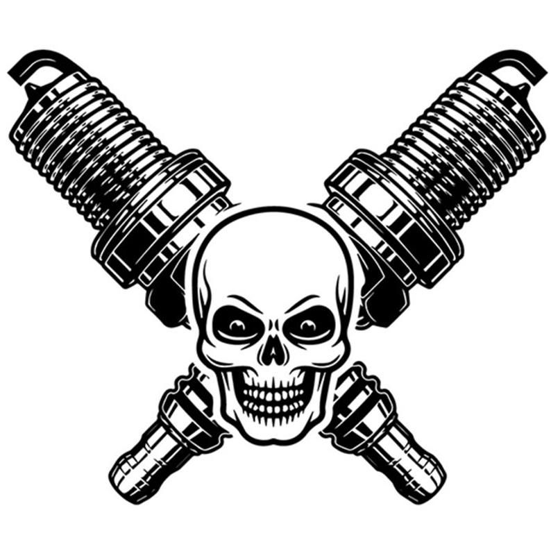 794x794 Mechanic Logo Skull Spark Plugs Crossed Motor Engine Auto Etsy