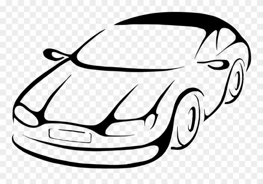 880x617 Car Line Art Clipart