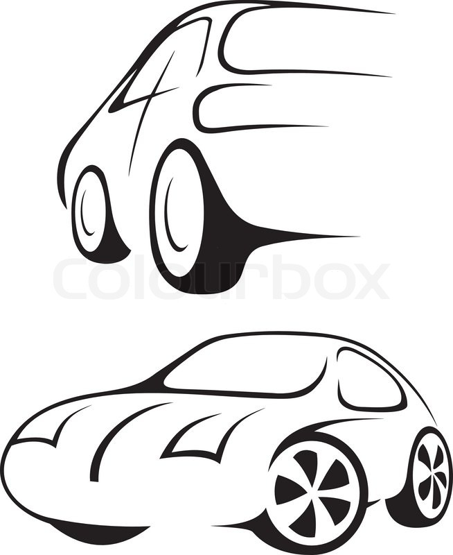 654x800 Cars Line Drawing In Black And White Stock Vector Colourbox