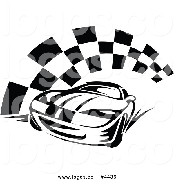600x620 Royalty Free Race Car And Checkered Flag Logo