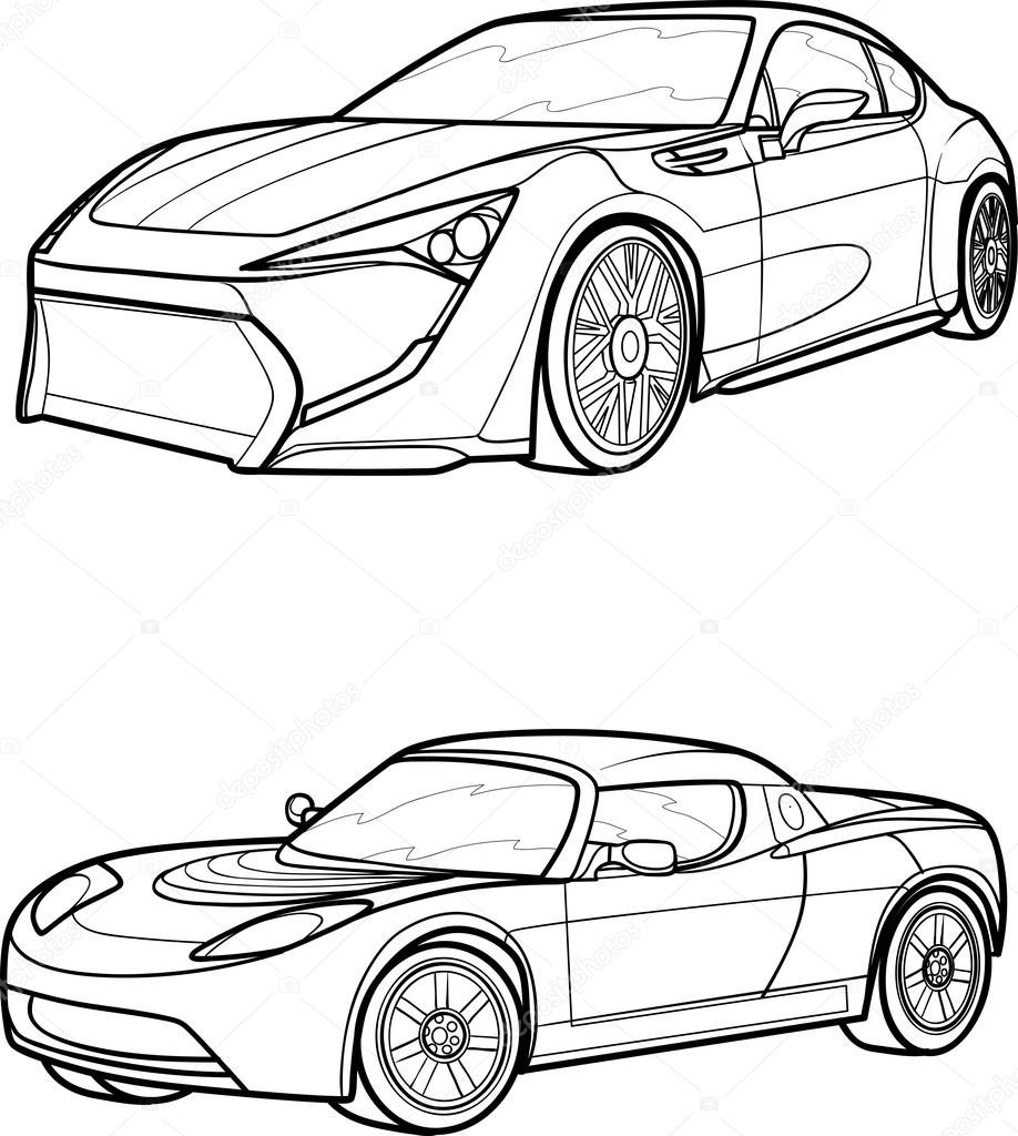 918x1024 Depositphotos Stock Illustration Black Outline Vector Car