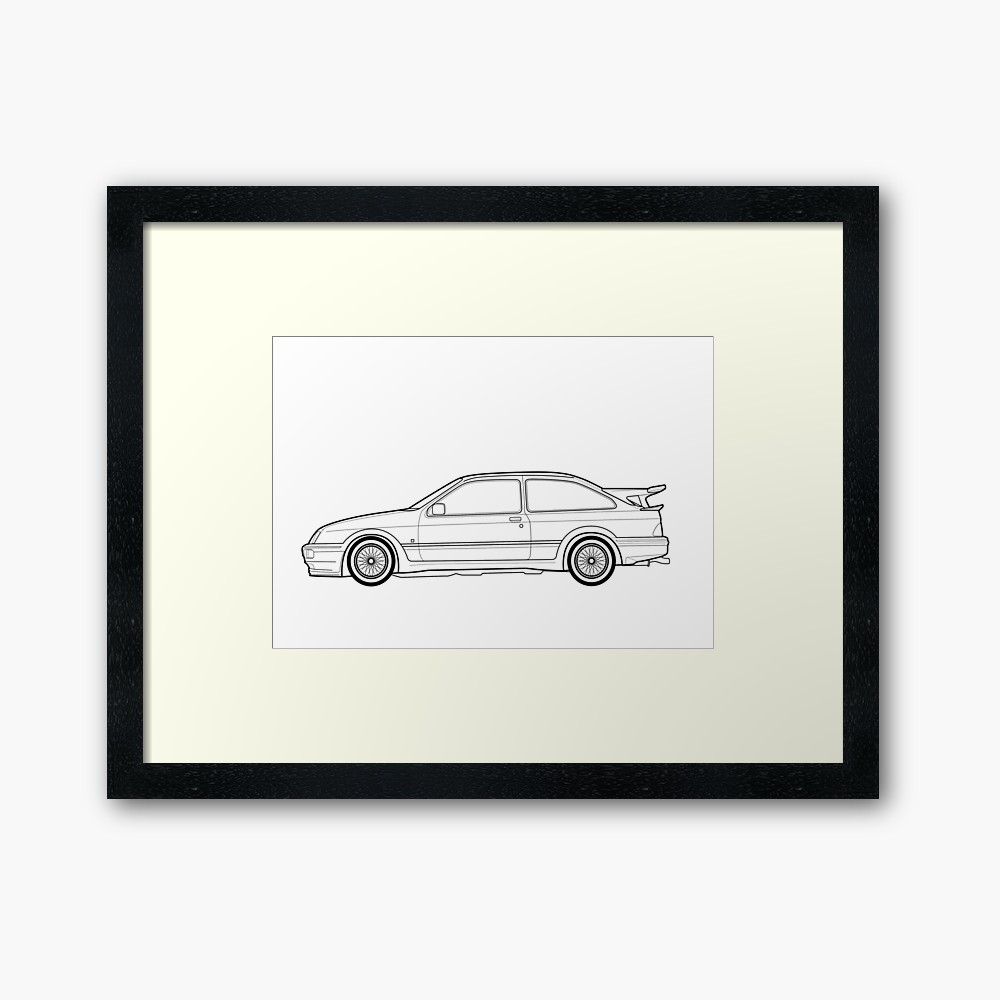 1000x1000 Ford Sierra Rs Cosworth Outline Drawing Framed Print