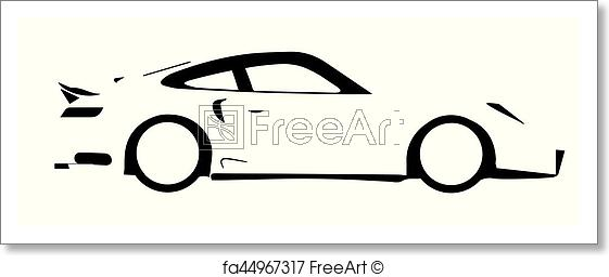561x256 Free Art Print Of Fast Car Outline A Fast Car In Silhouette Over